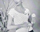 Summer Lace Jumper  1950s Vintage Knitting Pattern pdf INSTANT DOWNLOAD