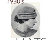 PDF Vintage Knitting Hat Patterns 1930's Designs 26 Patterns  60 pages email delivery