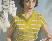 Ladies 1950 Sweater Vintage Knitting Pattern pdf   Striped Holiday Design