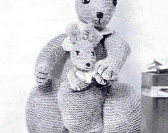 Toy  Kangaroo and Baby Vintage Knitting Pattern PDF INSTANT Download Kanga and Roo Mother Baby