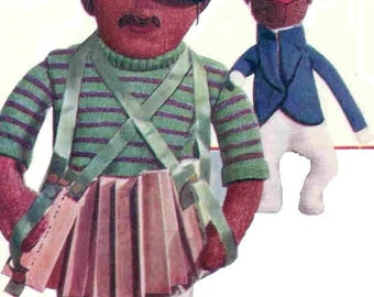 1930s Rare Toy Doll Vintage Knitting Pattern Pdf  ANTONIO the Accordian Man and his Monkey