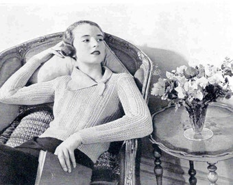Vintage Knitting Pattern Ladies Jumper in Turquoise with Unusual Neck Design1934  Pdf