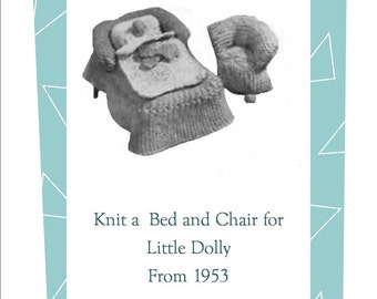 Teeny Tiny Bed Chair for Little Dolly  Vintage Knitting Toy Pattern pdf Instant Download