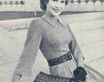 1940s Fair Isle Bag and Belt Vintage Knitting Pattern pdf digital delivery