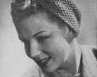 1940 Hat  Two-colour Turban Wrap  PDF Vintage Knitting Pattern Hat