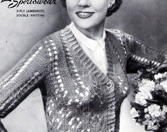 1940s Lacy Cardigan by Lawtons Vintage Knitting Pattern pdf Instant Download