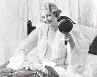 Angora Bed Jacket Cardigan 1933 Vintage Knitting Pattern PDF INSTANT DOWNLOAD