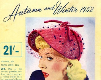 1952 June Millinery Catalogue Hat Shapes Illustrations Fashion E-Book Pdf  Reproduced Magazine Instant Download