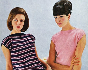 Easy TWO Simple Sweaters  Shell Tops 1964 Vintage Knitting Pattern pdf Instant Download