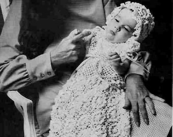Babies Christening Gown and Cap Daisy Loom Vintage Crochet Pattern  PDF