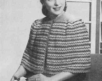 Cosy Shoulder Shawl 1948 Vintage Knitting Pattern pdf - Great way to use up your yarn stash Instant download