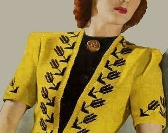 1940s  Ladies Cardigan Jacket Black Tulip Coat PDF Vintage Knitting Pattern