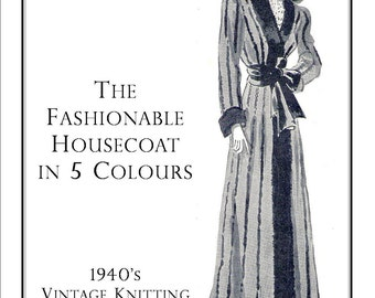 Vintage Knitting Pattern pdf  ladies Multi-Coloured Housecoat Dressing Gown 1940s Instant Download