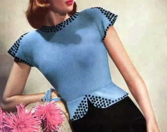 Ladies Evening Jumper 1945 Stunning Sequins Vintage Knitting Pattern pdf