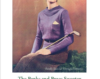 1934 Vintage Ladies Sweater Knitting Pattern The Banks & Braes pdf