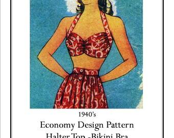 """Beach Bra Halter 34"""" 1930's  Vintage Sewing Pattern PDF Digital Download from Pamoolah Vintage"""