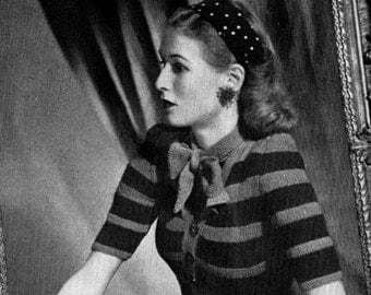 Cardigan and Jumper pdf Vintage Knitting  Pattern  Bows Twin Set  INSTANT DOWNLOAD