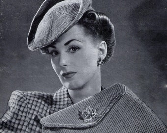 1940s Tilt Hat Beret and Bag Purse Weldons 335 Vintage Knitting Pattern Pdf  Digital Download