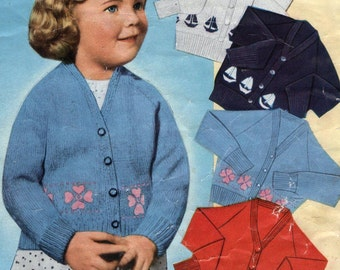 Childs Cardigan with Choice of Border Pattern 1940s Vintage Knitting Pattern  pdf Instant Download