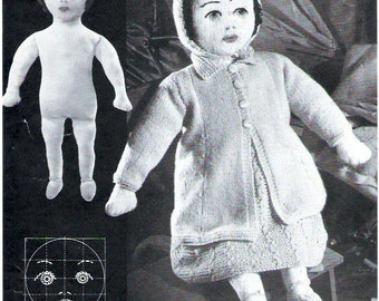 1930's Doll Vintage Knitting Pattern for the Doll with 7 Outfits PDF Download