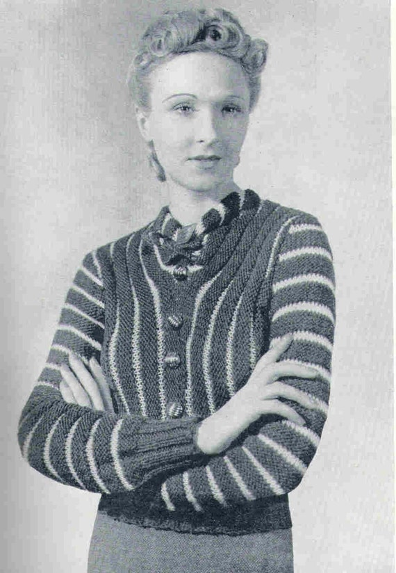 1930s Knitting Patterns : Items similar to 1930s Sweater Vintage Knitting Pattern pdf Download two...
