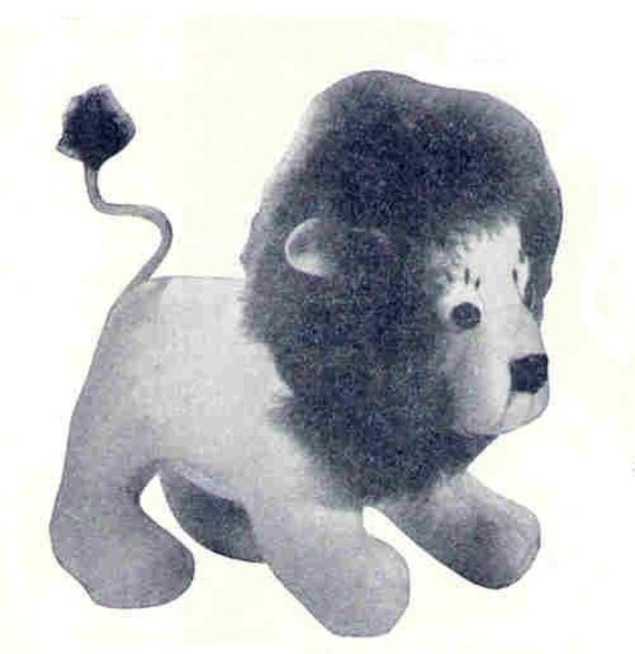 Leo the Lion in 2 sizes Mascot Toy Vintage Sewing Pattern pdf Instant download