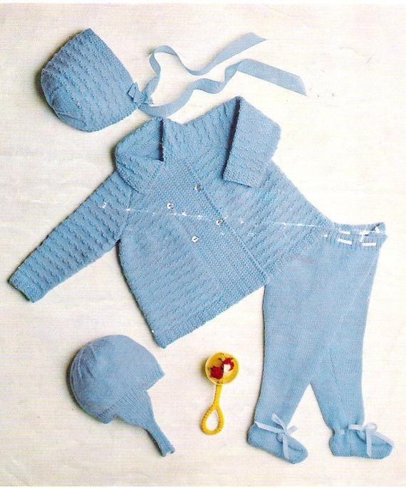 Items similar to Baby Clothes Vintage Knitting Pattern pdf Coat Leggings Hat ...