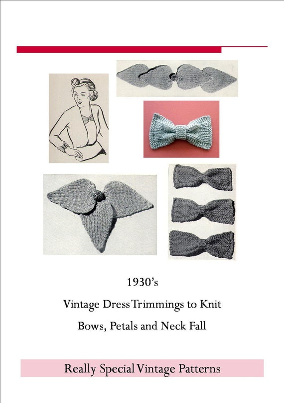 Pdf  Vintage Knitting Pattern Bows & Trimmings from 1930s Motifs for Sweaters Instant Download