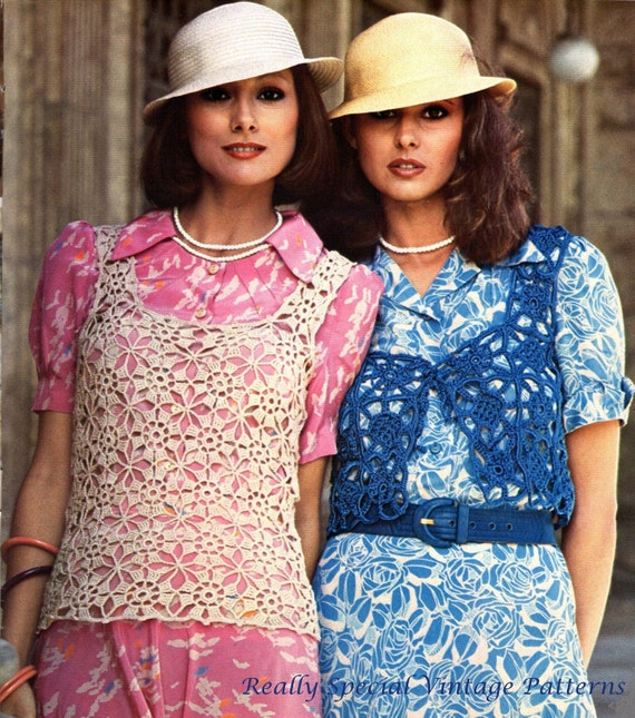 Lace Bolero Shrug Tank Bag 1970 Vintage Crochet Pattern pdf  INSTANT DOWNLOAD