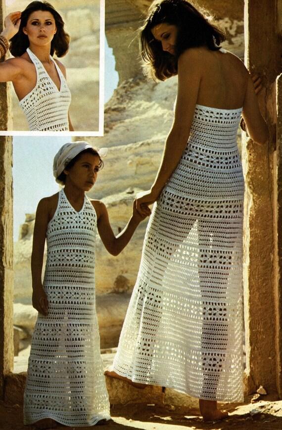 1970s Hippie Crochet Dresses  Mother daughter 2 sizes Vintage Crochet pattern  PDF Instant download
