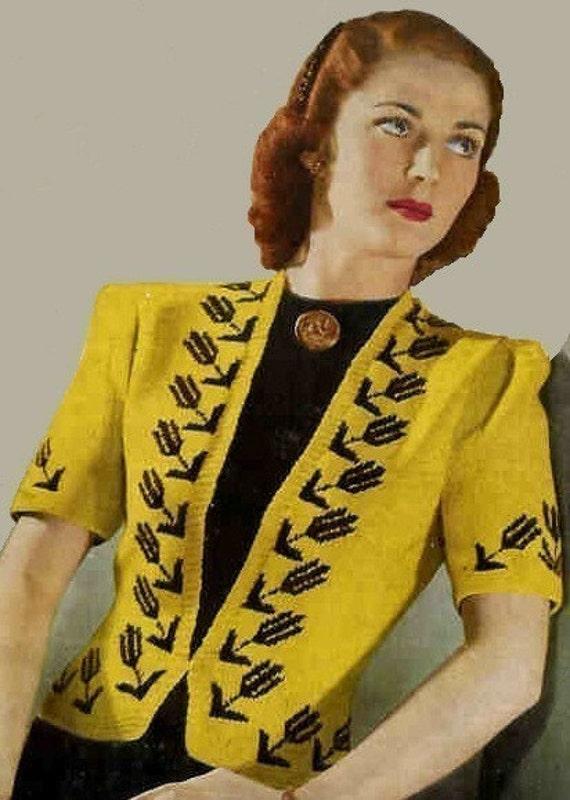 1940s  Ladies Cardigan Jacket Black Tulip Coat PDF Vintage Knitting Pattern