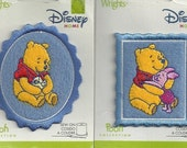 Set of TWO ADORABLE Appliques Iron On Disney Patches Winnie the Pooh with Duckling and and Winnie the Pooh with Piglet