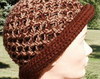 Mixed Tan and Dark Brown Open Weave Style Crochet Rolled Brim Hat