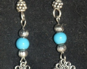 Silver w Turquoise Accents Lacey Diamond Dangle Beaded Earrings