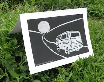 Full Moon Volkswagen Bus Greeting Cards