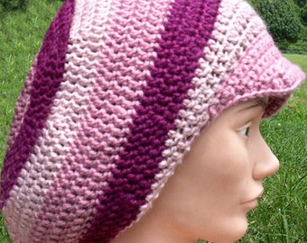 3 Pink Colors of Simply Soft Yarn Crochet Tam with Brim Size Medium