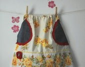 Upcycled Girl Vintage Flowers skirt 6T - 7T