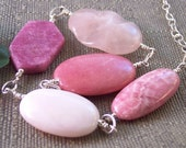 Blush- Asymmetrical Frosted Pink Tourmaline Rhodochrosite Pink Opal Rhodonite Rose Quartz Adjustable Sterling Necklace