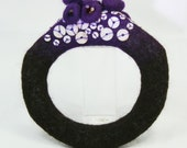 UNIQUE Slip on Needle Felted Bangle in Purple and Brown