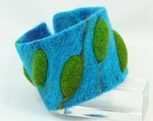 Islands Needle Felted Cuff in Turquoise and Green