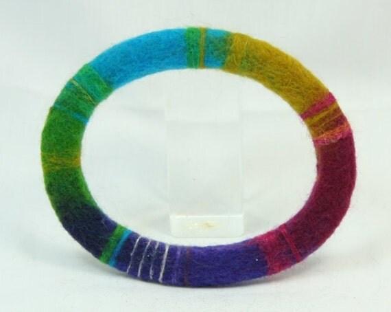 Needle Felted Rainbow Bracelet B