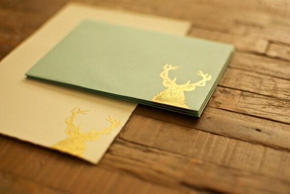 Elk Stationary (gold & aqua)