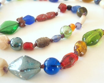 Malibu Glass - Necklace or Bracelet - antique Varanassi glass beads hand-knotted on organic linen