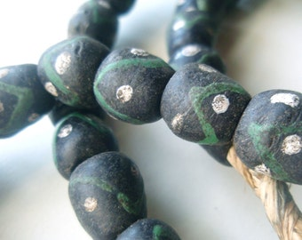 Ghana Krobo Glass - Black and Green Chevrons - African Trade Beads - 27 inches, 48 beads