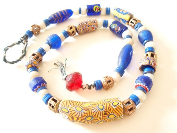 Rising Sun - Antique Millefiori Necklace - strung with 100 year-old African Trade Beads