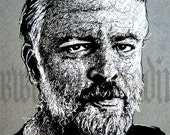 Philip K Dick - Original Drawing - Portrait Science Fiction Vintage Ubik Blade Runner Android Robot Cyberpunk Industrial Future Fantasy