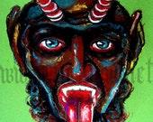"Print 8x10"" - Krampus - Dark Art Horror Christmas Xmas Devil Scary Myth Gothic Lowbrow Santa Chrildren Bad Tongue"