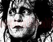 "Print 5x7"" - Edward Scissorhands - Johnny Depp Tim Burton Spooky Halloween Gothic Fetish Leather Dark Art Horror Scissors Creepy Cute"