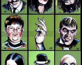 "Prints 8x10"" - The Addams Family - Halloween Horror Dark Art"