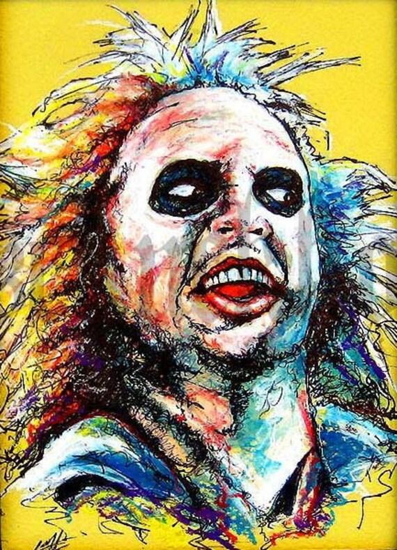 "Print 8x10"" - Beetlejuice - Horror Comedy Tim Burton Gothic Halloween Dark Art Funny Spooky Creepy Classic Portrait Pop Art"